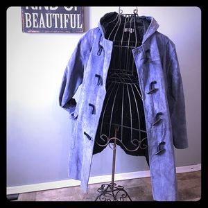 100% leather periwinkle trench